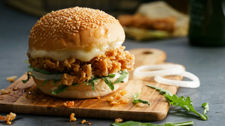 fried chicken sandwich with cheese