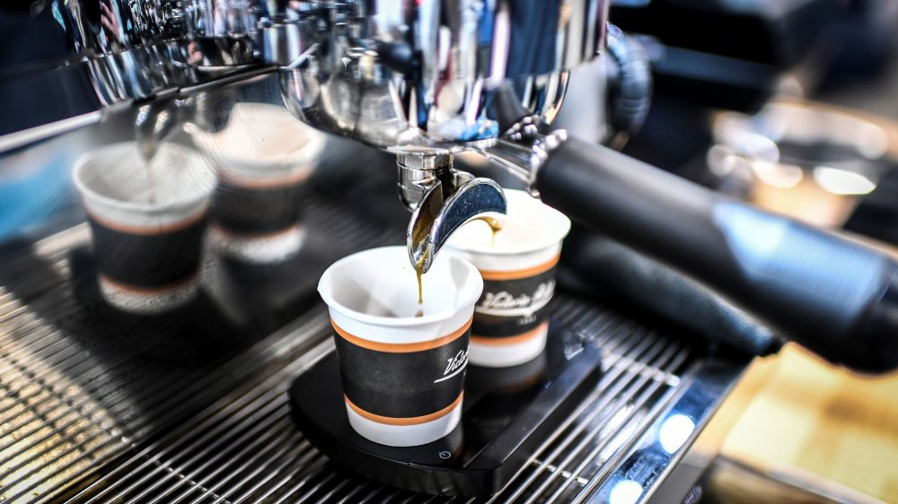 espresso being made at coffee shop