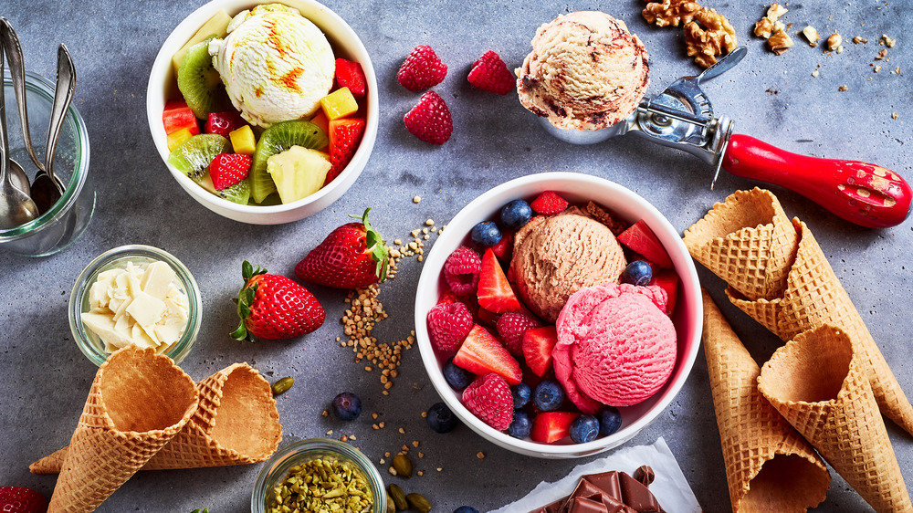 ice cream and toppings