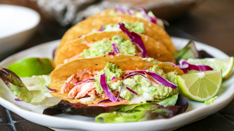fish tacos on white plate