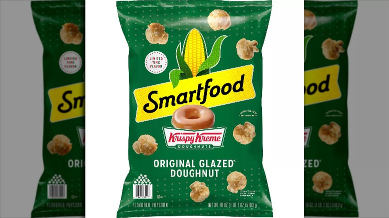 Green bag of Smartfood's Krispy Kreme original glazed donut popcorn