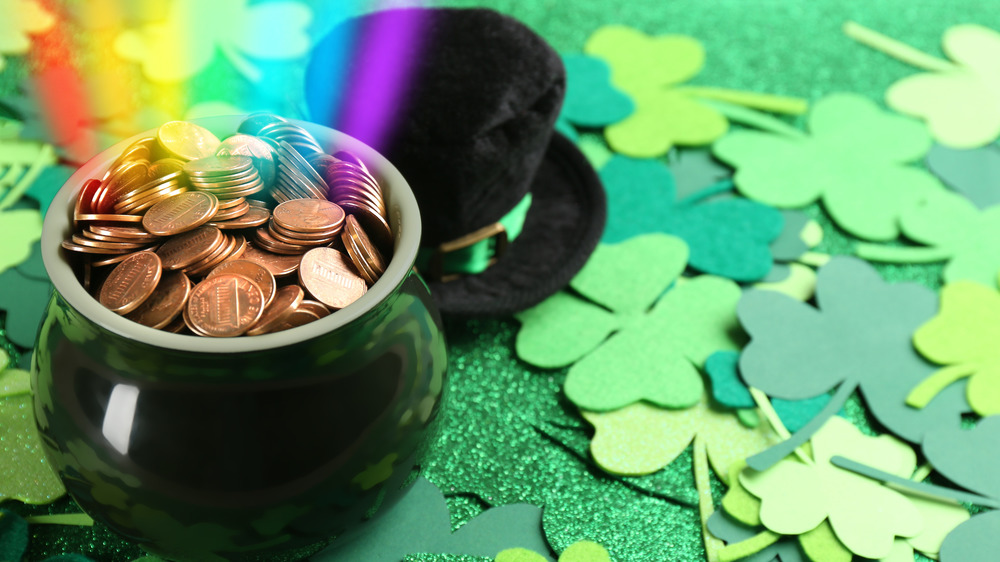 Green clovers and a pot of gold