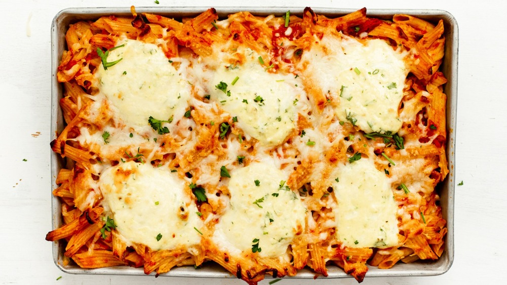 Baked ziti in pan