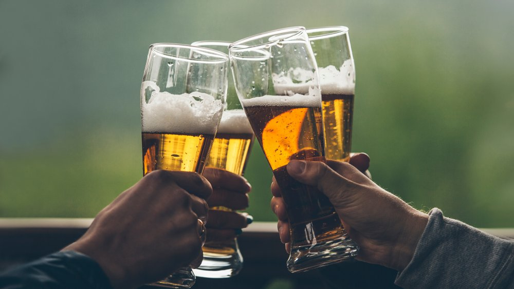 Beer glasses in a toast