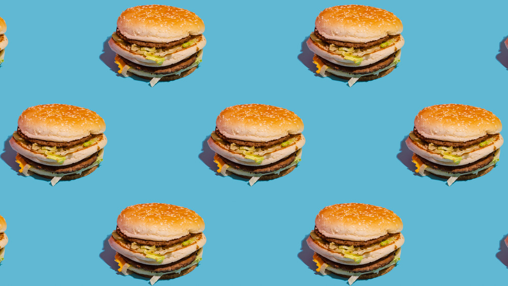 burgers on a blue backdrop