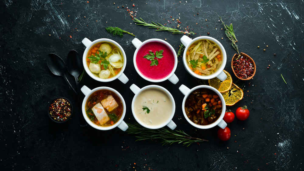 Rows of bowls of soup