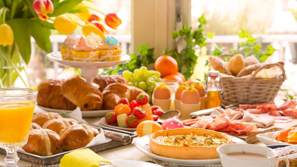 Easter meal with coffee and brunch items