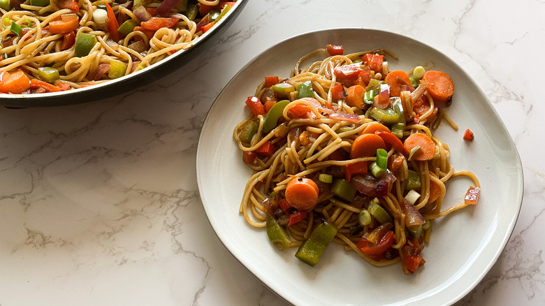 Vegetable Lo Mein served on a plate