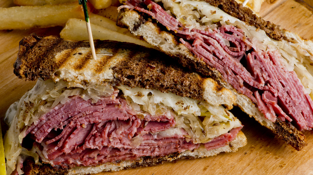 Reuben sandwich with corned beef and pastrami
