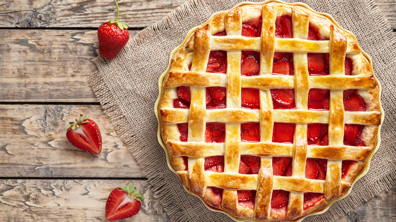 Strawberry pie on a table