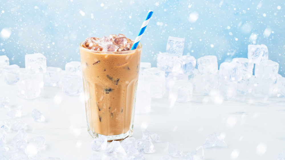 Iced coffee in snow and ice