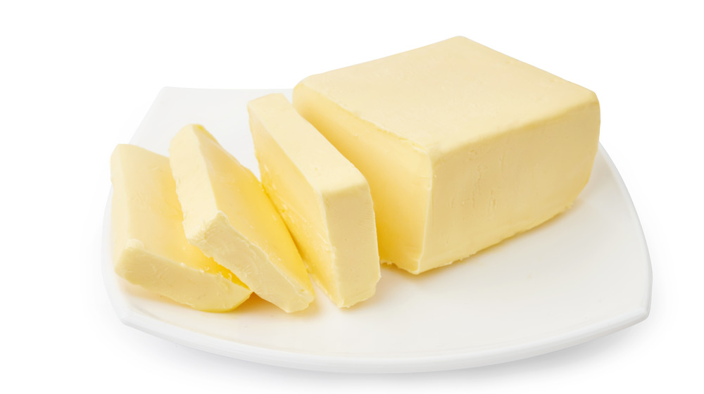 Butter slices on dish