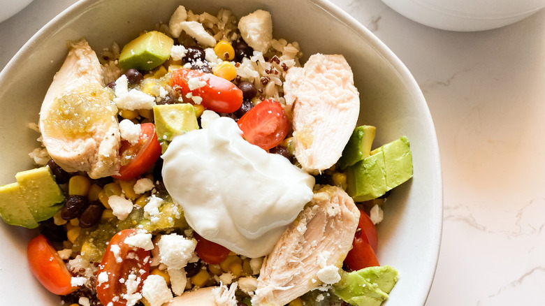 Close up of Panera Bread Baja bowl with chicken
