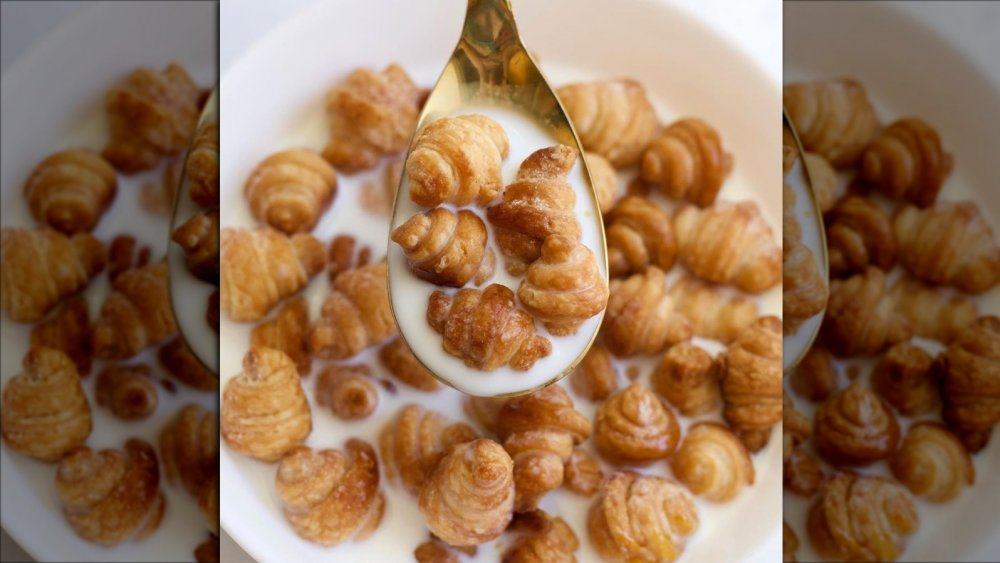 Croissant cereal in a spoon