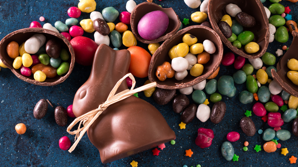 Assorted Easter candy and bunny