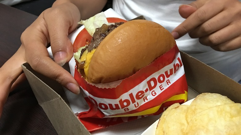In-N-Out Double-Double Burger in wrapping paper