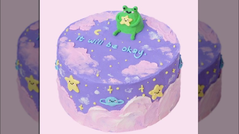 frog cake with sky-themed icing