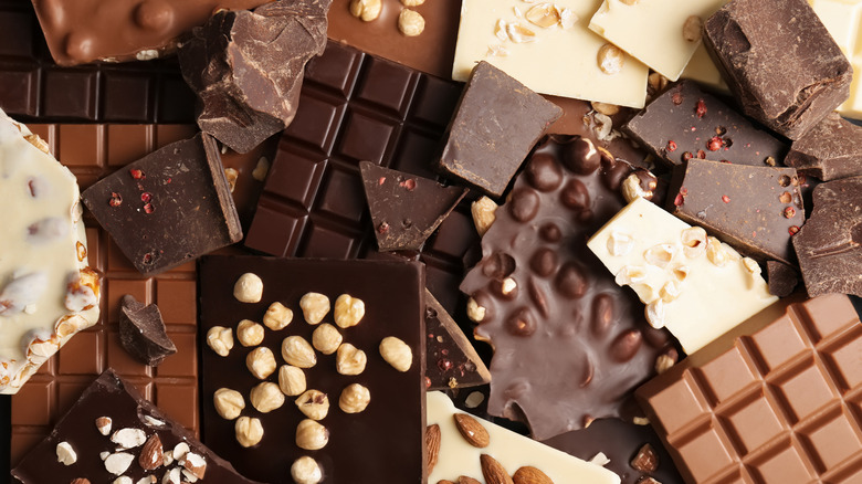 A pile of many different kinds of chocolate