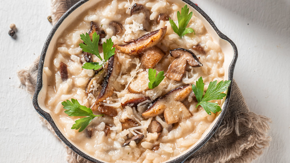 Mushroom risotto in a pan