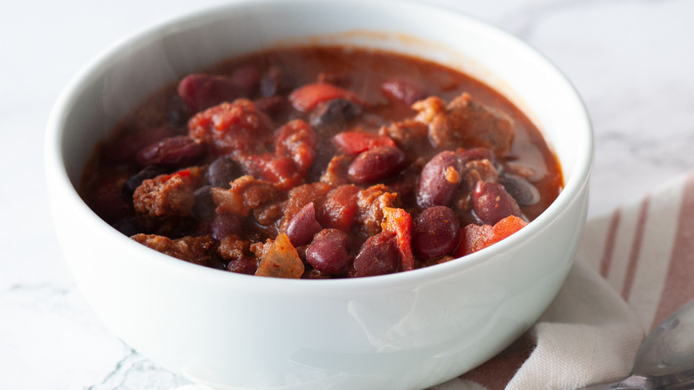 bowl of slow cooker chili
