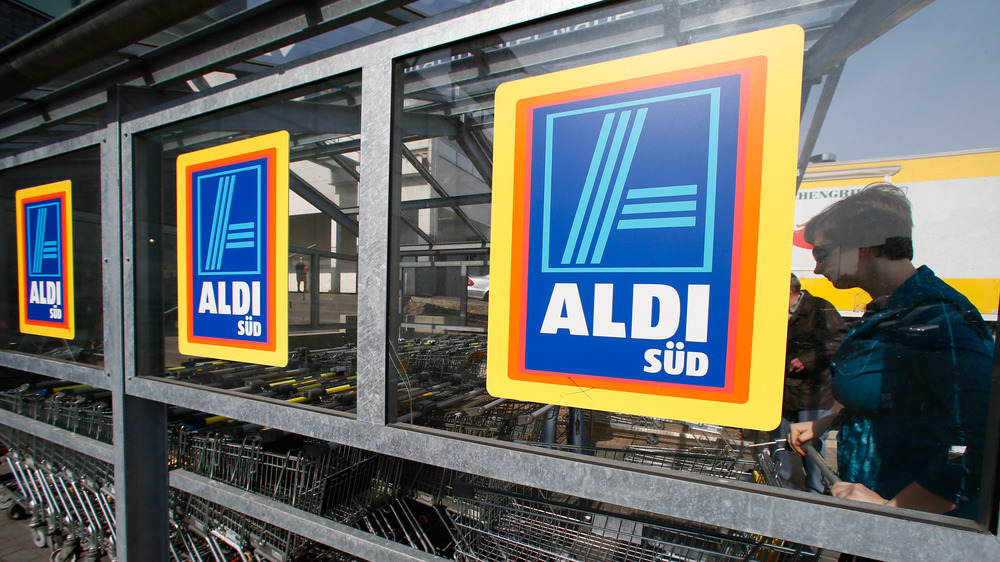 Aldi shopping carts in stall