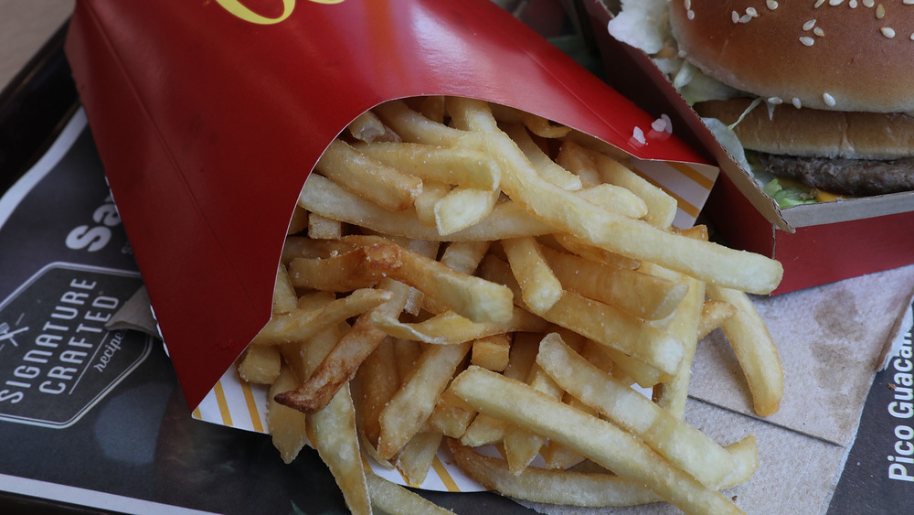 A container full of McDonald's fries