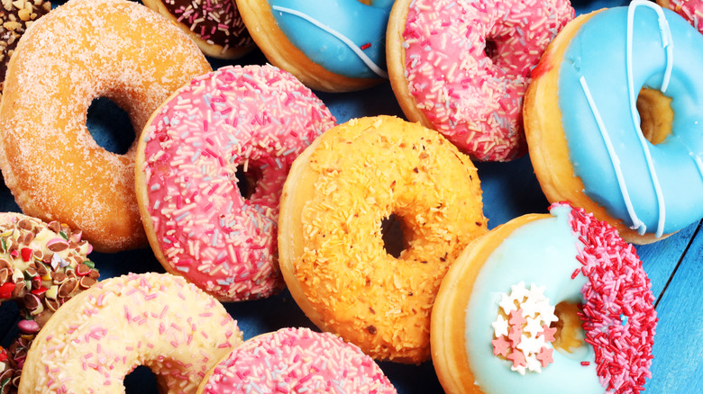 a variety of colorful donuts