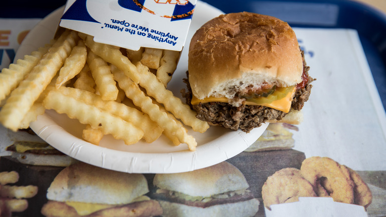 A representational photo of a burger from White Castle