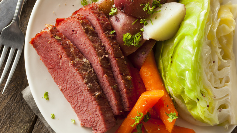plate of corned beef and cabbage