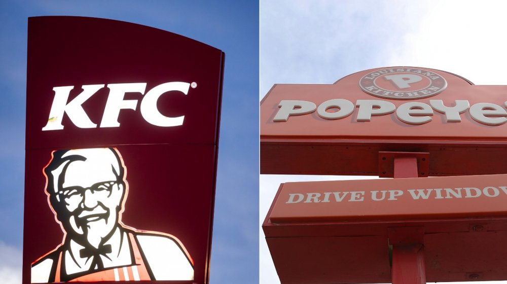 KFC and Popeyes signs