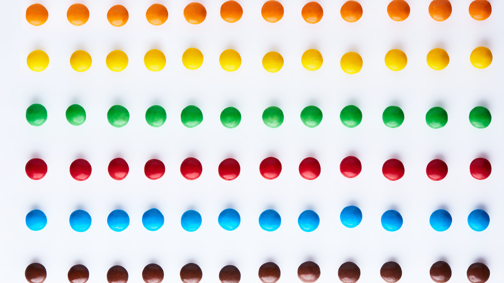rows of M&M's