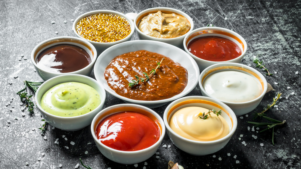 Condiments and sauces in cups