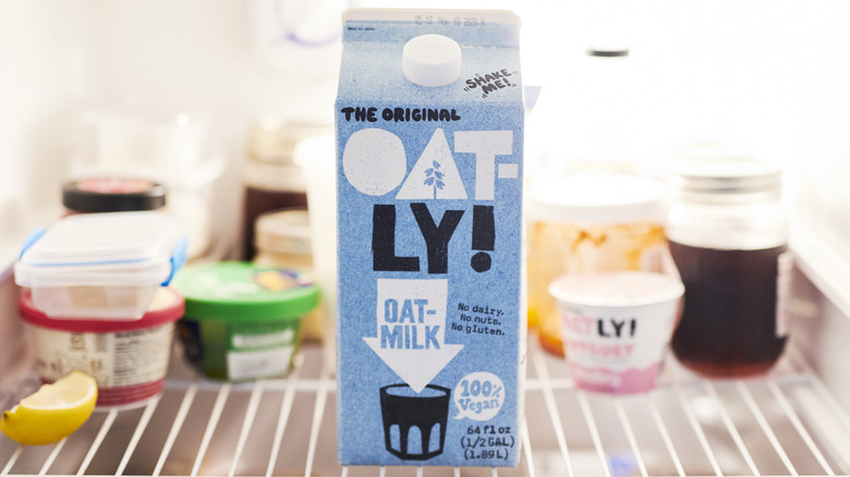Oatley oat milk in a fridge