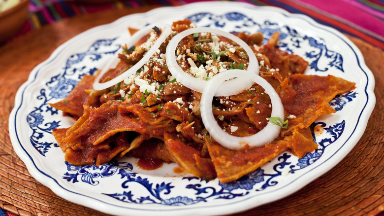A plate of chilaquiles