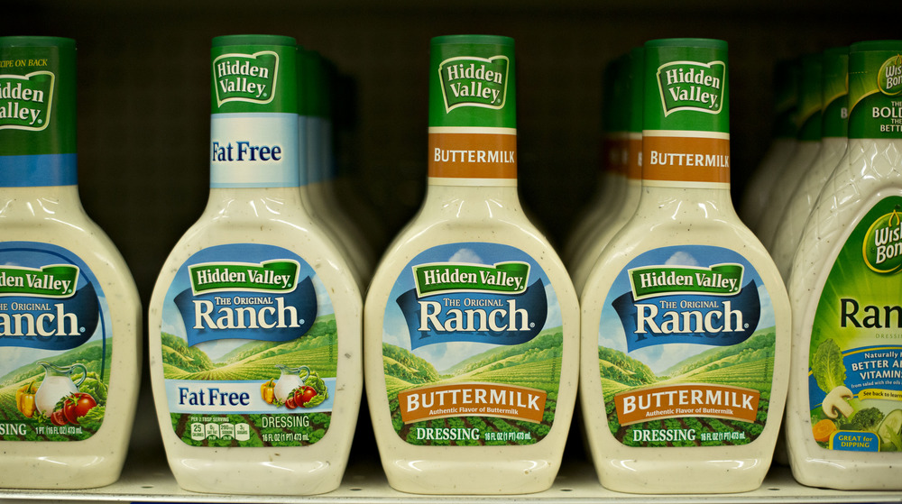 Bottles of ranch dressing in a row