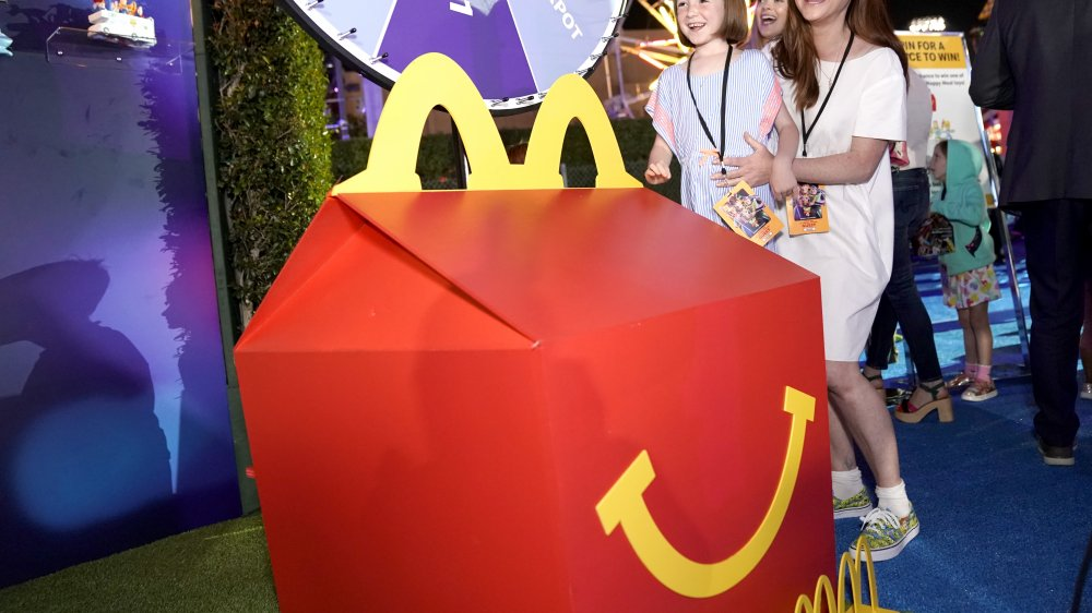 The snack that smil-- wait no, I'm loving it with the large scale replica of a McDonald's happy meal box