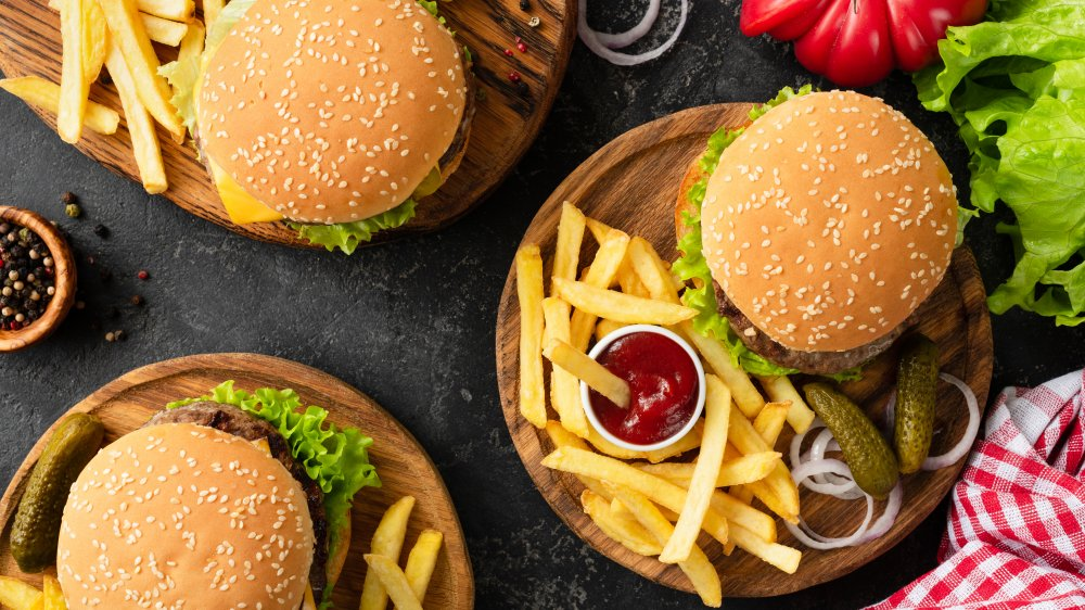 Fast food burgers and fries