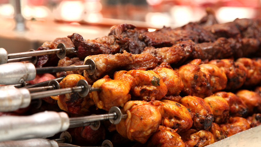 Meat skewers in a stack