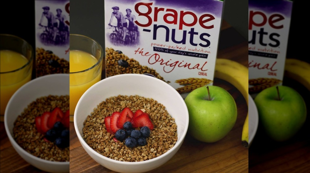 Grape-Nuts cereal in a bowl with berries