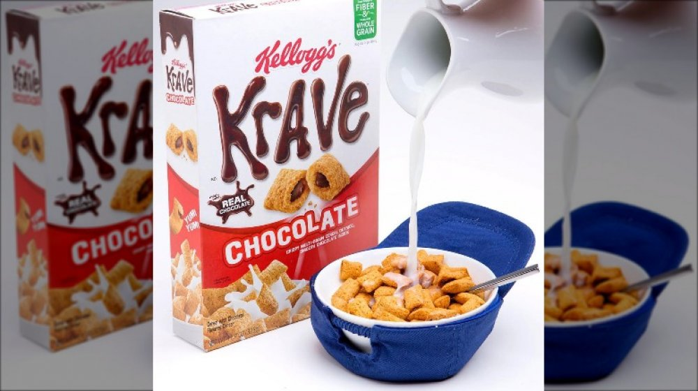 Kellogg's Krave in a bowl with milk