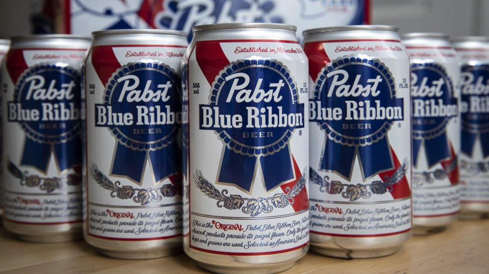 Cans of Pabst Blue Ribbon