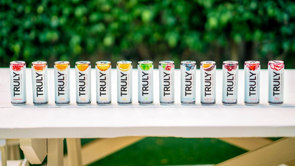 Cans of Truly Hard Seltzer lined up