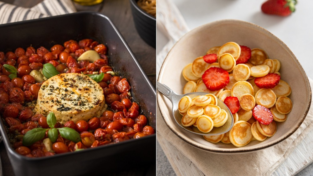Baked feta pasta and pancake cereal