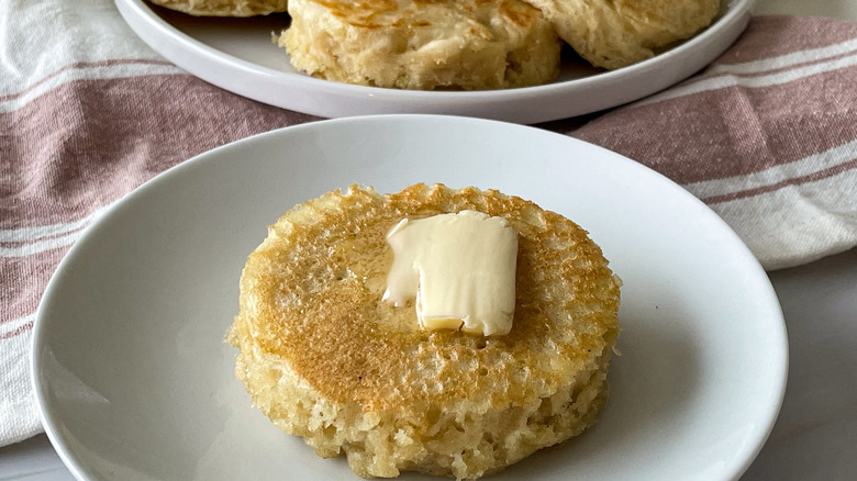 crumpets served with butter