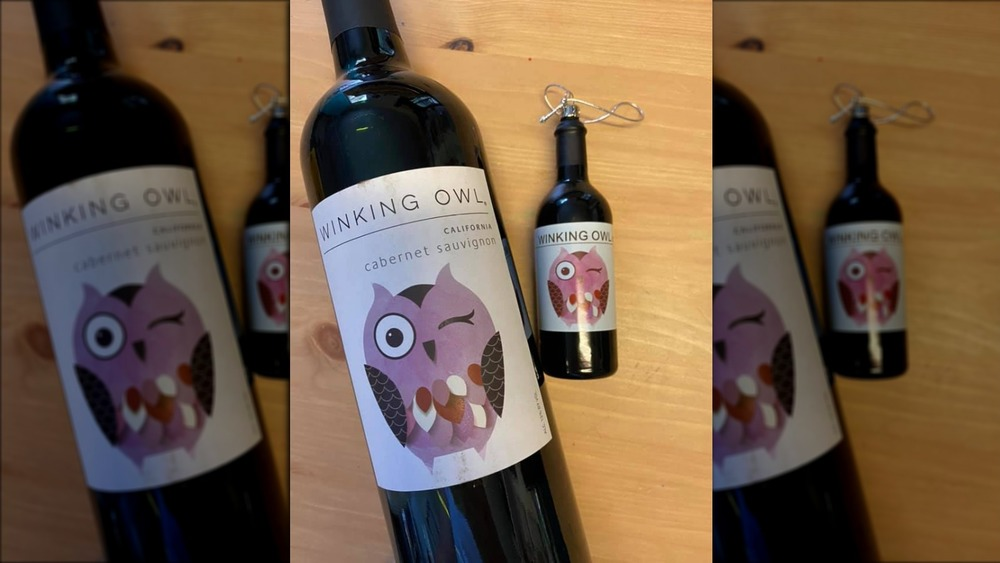 Winking Owl ornament and wine bottle