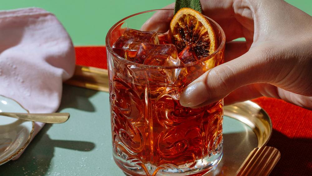 Negroni cocktail over ice