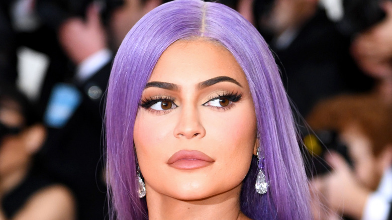 Kylie Jenner in a purple wig