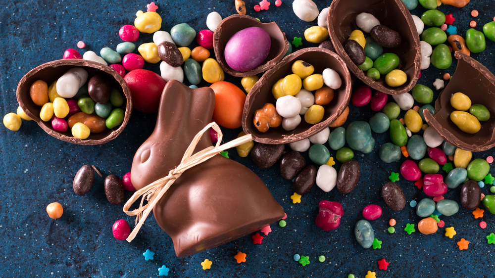Easter candy on dark background