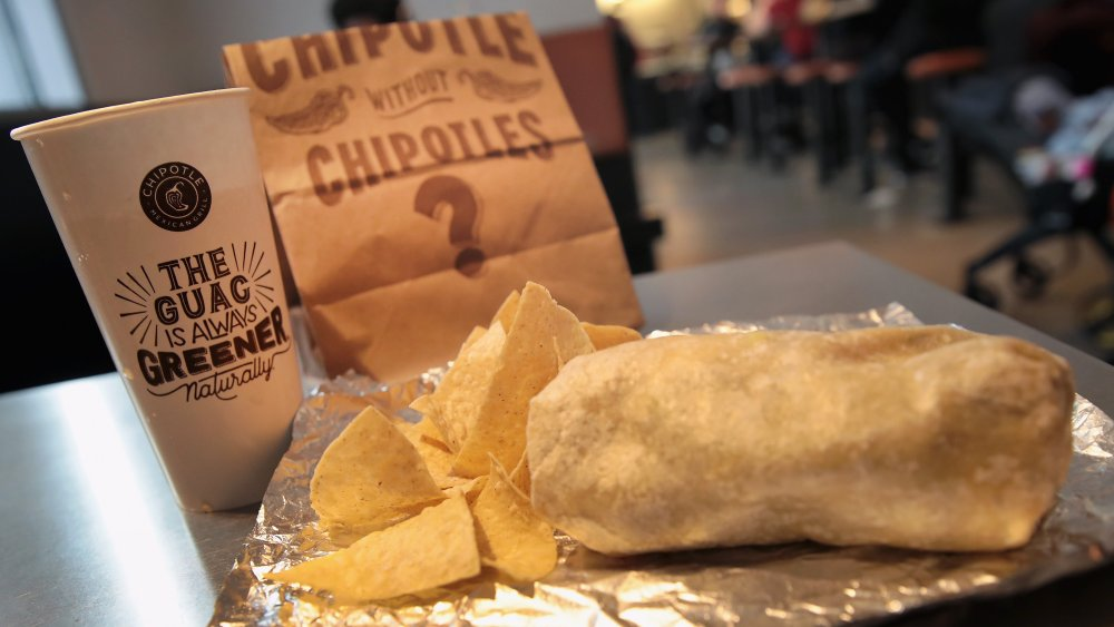 Chipotle meal burrito tortilla chips and drink