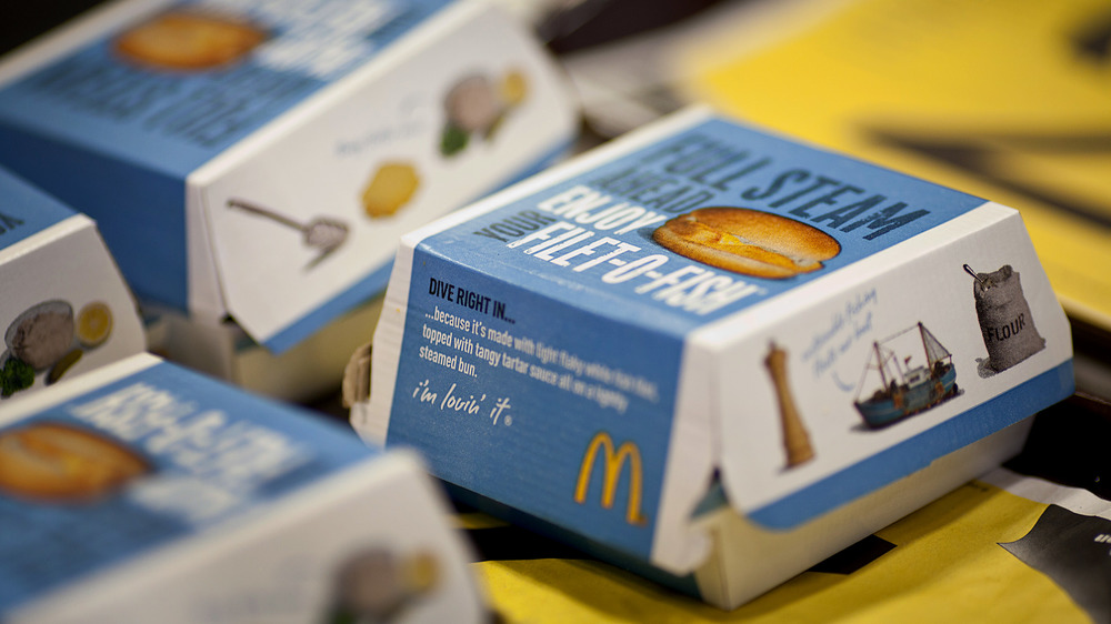 Boxes of Filet-O-Fish sandwiches in a row